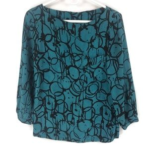Kelly Wearstler teal blue black geometric blouse